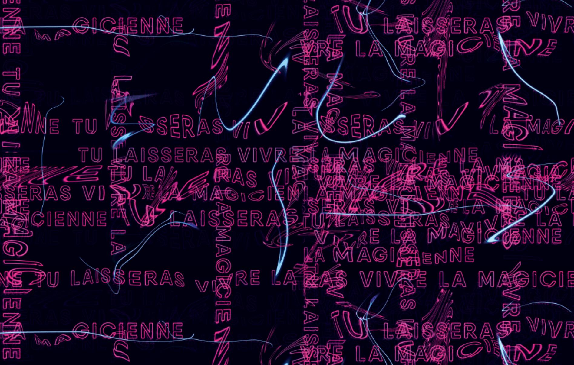 « Magicienne » - Motif créé pour la collection Ciné New Wave de W!TCHES, à partir du slogan « Tu laisseras vivre la magicienne. ». Une typographie en néon avec un effet vertigineux.  Ce motif a été imprimé sur les doublures.