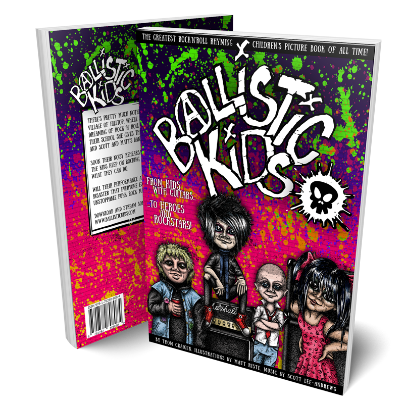 Mock up of front and back cover of Ballistic Kids physical book