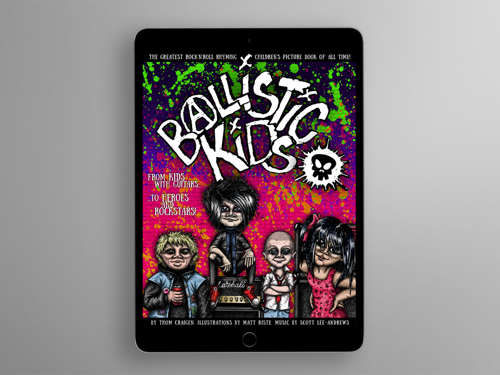 iPad showing digital copy of Ballistic Kids front cover
