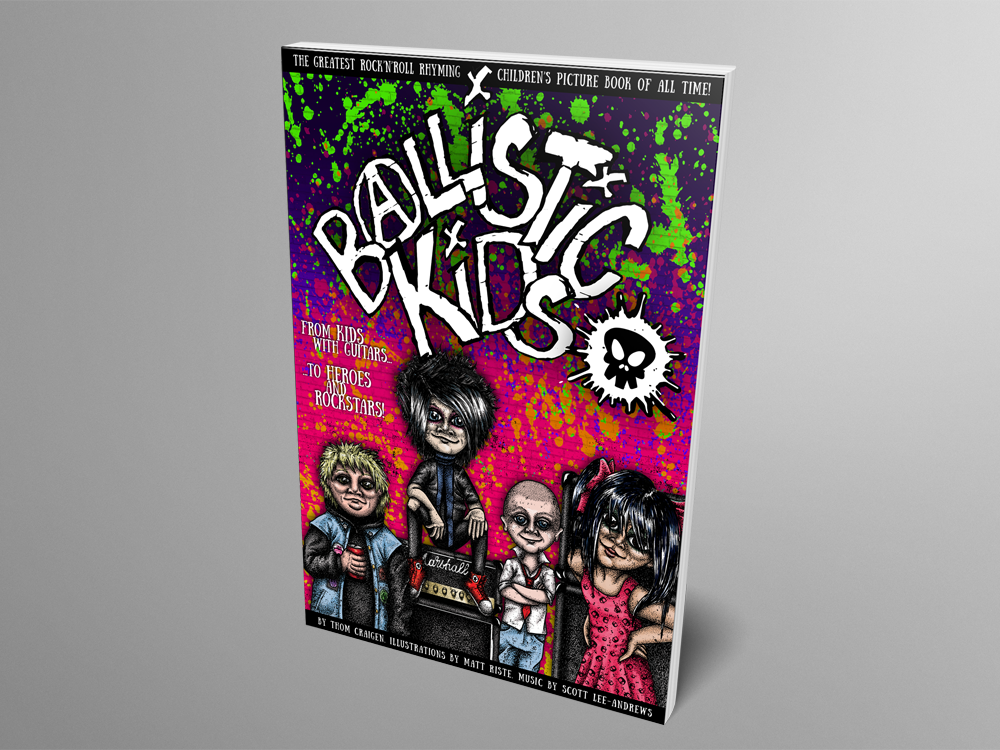 Mock up of Ballistic Kids paperback book - one physical copy