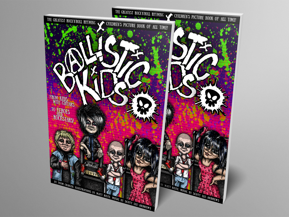 Mock up of Ballistic Kids paperback book - two physical copies