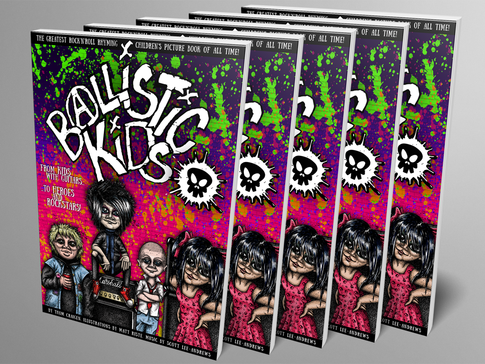Mock up of Ballistic Kids paperback book - five physical copies
