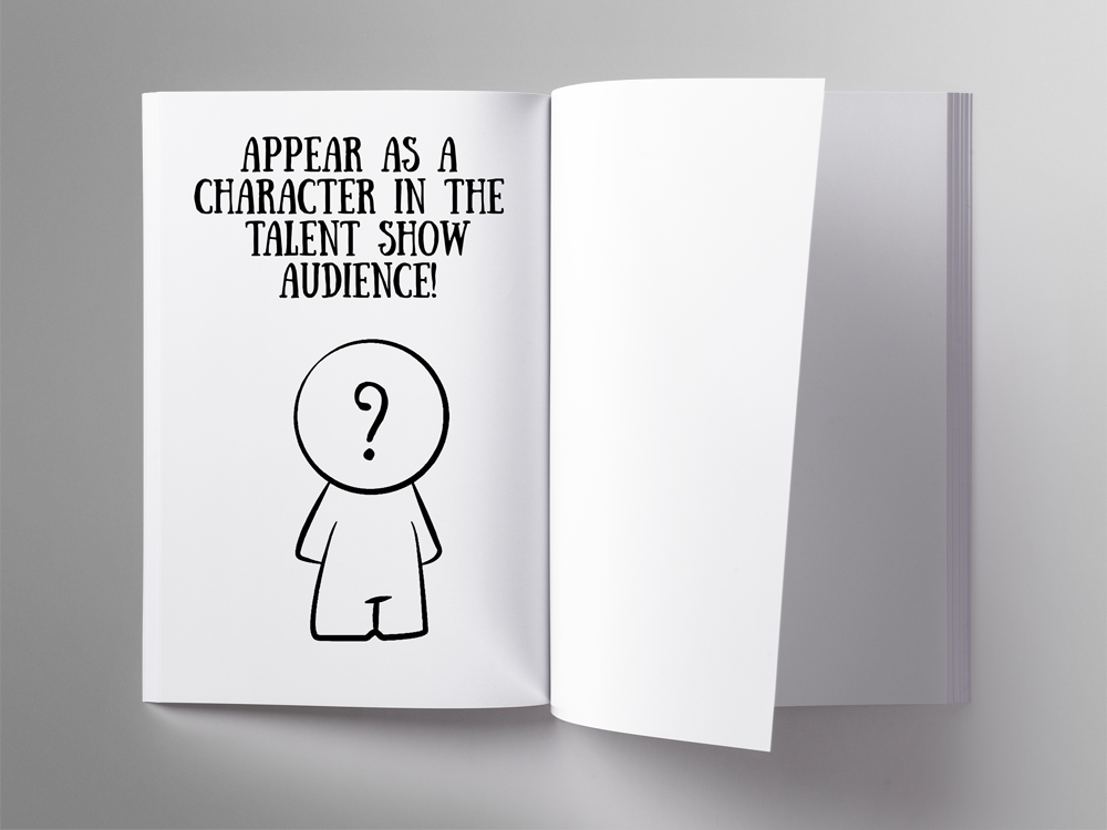 Mock up of blank paperback book with question mark meeple