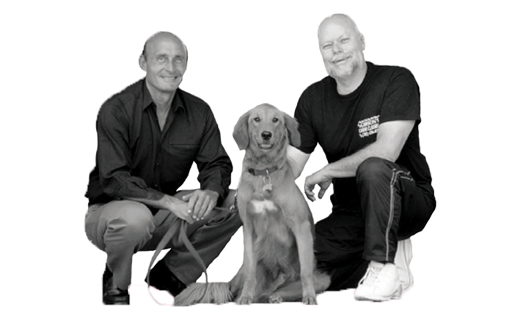 "Las Vegas personality, ""Ed Bernstein"" with his dog and Trainer, Mark Gibson (pictured on right). Ed says: 'Gibson can teach an old dog new tricks!'"