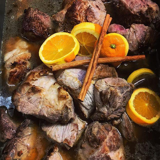 Chili-citrus braised pork. #friday #restaurant #kitchen #prep #pork #citrus #cubano #lunch @homage_sf