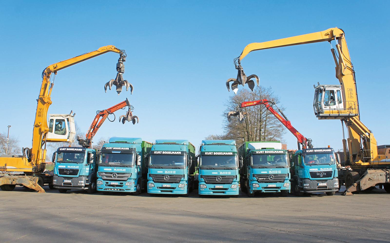 Der Fuhrpark des Unternehmens Kurt Bosselmann Metallhandel steht Kunden auch für Speditions- und Transportleistungen zur Verfügung.