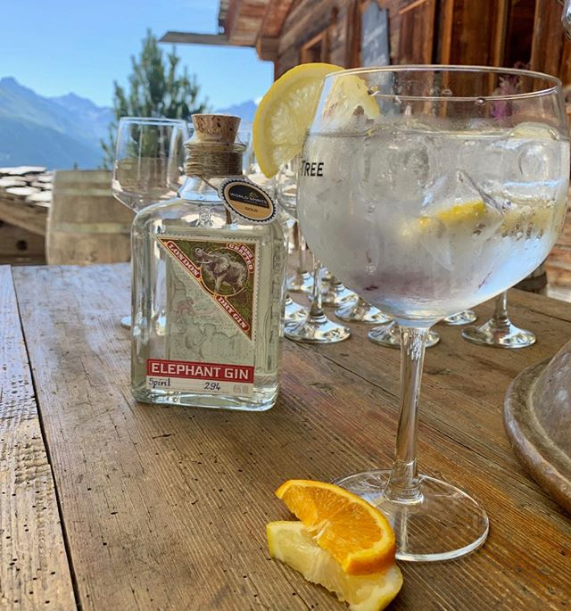 Sundowners @lamarlenaz with Elephant Gin & tonics. The first step to changing the world is having the right spirit. #verbier#sundowners #elephantgin #therightspirit #gnt #ginlovers