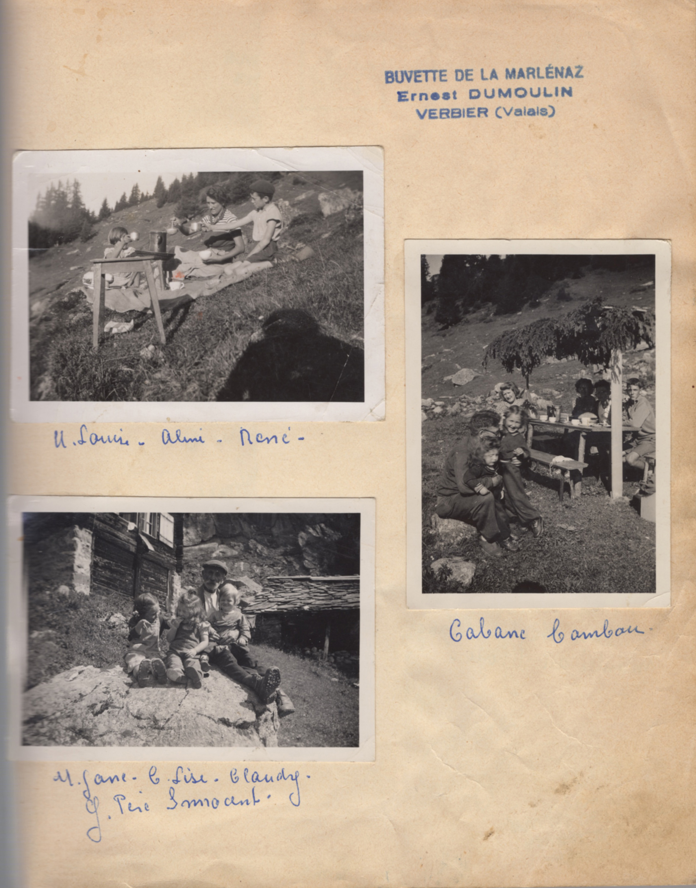 """On the 7th of August, 1959, Innocents son, Mr. Ernest Dumolin (1916-1983) was given the concession to exploit 'unebuvette au lieu dit """"Le Clou/Verbier""""' in the region of Pierre Avoi.  Between 1959-1960 Ernest finally turned the mayen into a refreshments bar and opened it to the public in 1960."""