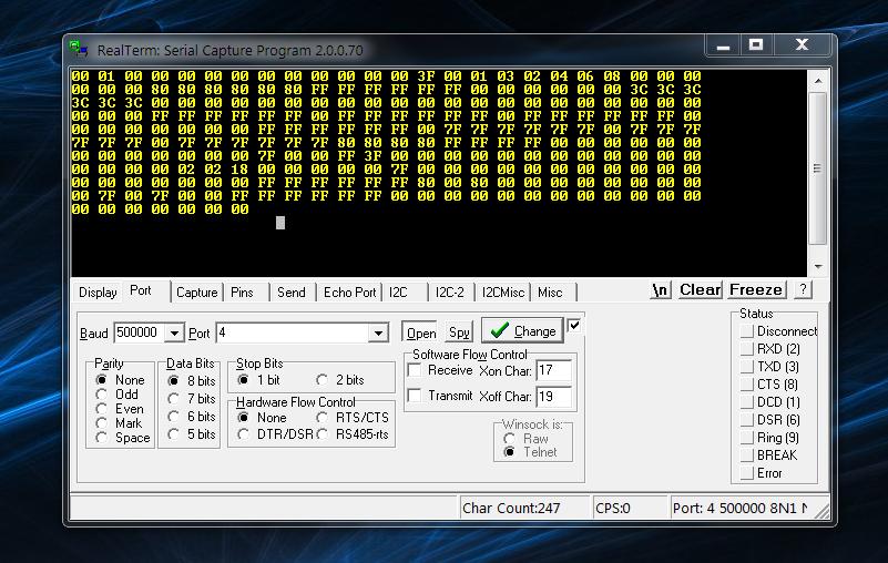RealTerm Serial Capture Program after issuing a Program Dump command (d)