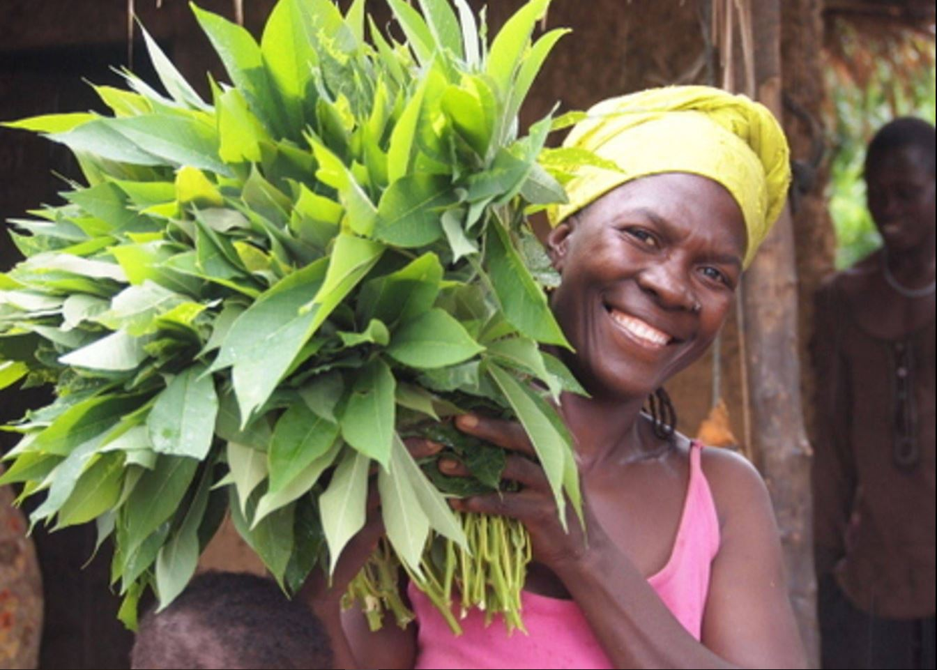 Local woman w cassava leaf.JPG