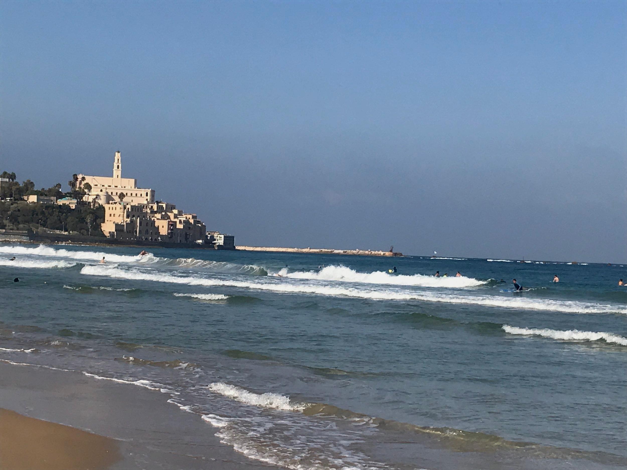 Looking toward Yafo from Tel Aviv beach……