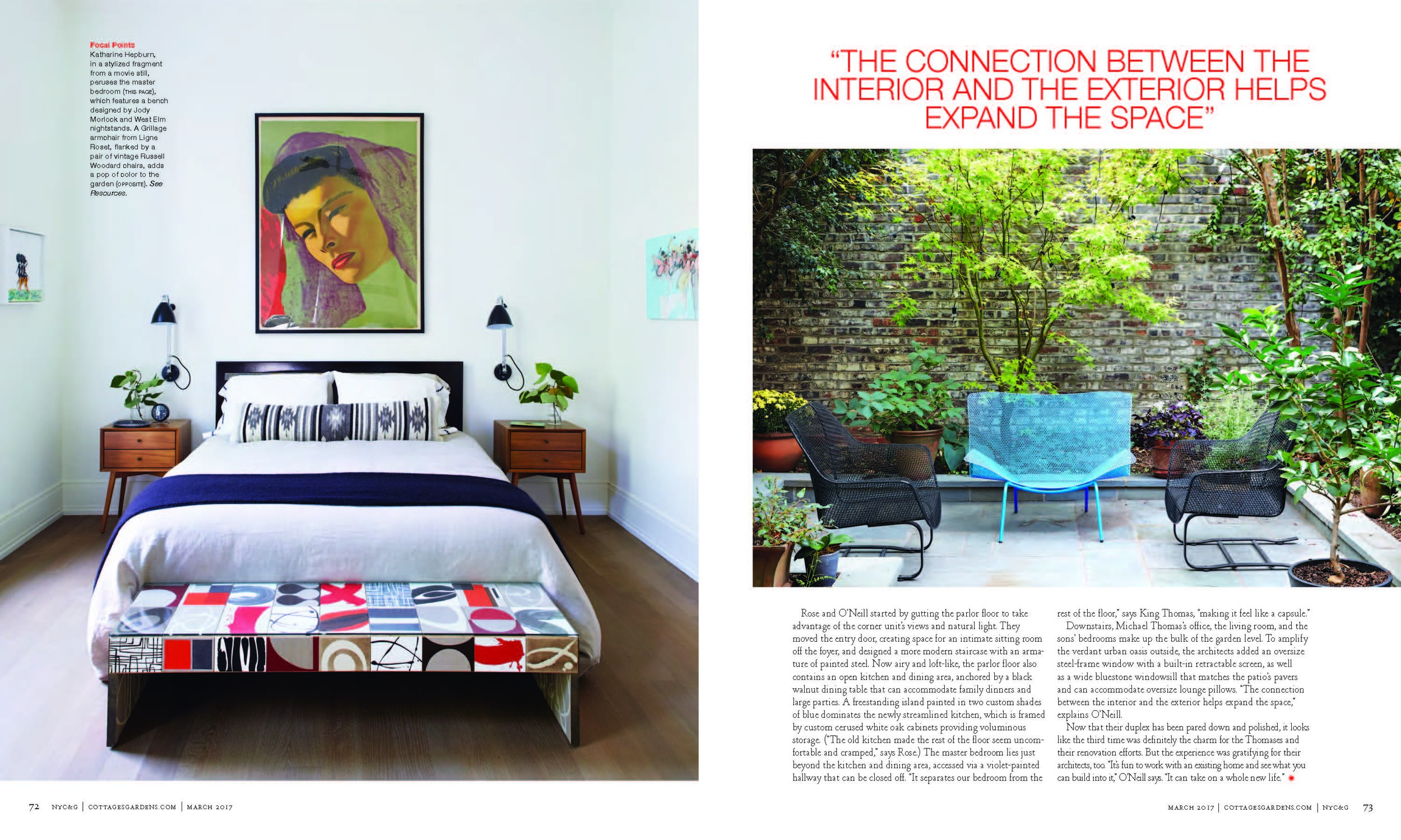 """As seen in NYC&G (New York Cottages & Gardens). """"Dreamy Duplex,"""" was originally published in NYC&G. """"O'Neill Rose Architects Breathes New Life Into a Brooklyn Heights Brownstone,"""" was originally published on  http://www.cottages-gardens.com/New-York-Cottages-Gardens/March-2017/Brooklyn-Heights-Home-Tour-Designer-ONeill-Rose-Architects/"""