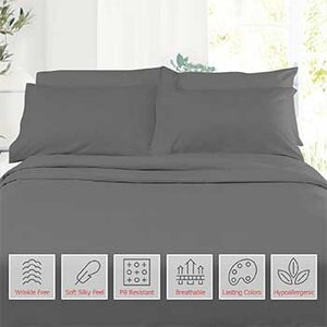 6-Piece 1800 Count Bed Sheets   List Price: $100   Today's Price: $11 (89% off!)    via eBay