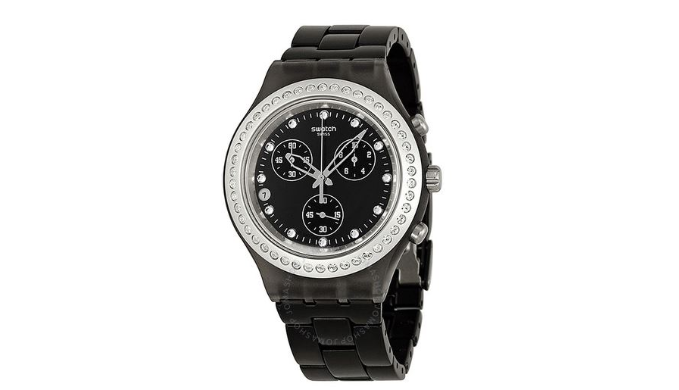 SWATCH Irony Diaphane Full Blooded Stoneheart Silver Black Dial Chronograph Unisex Watch   Reg. Price: $160   Today's Price: $50 (69%)    via 1Sale