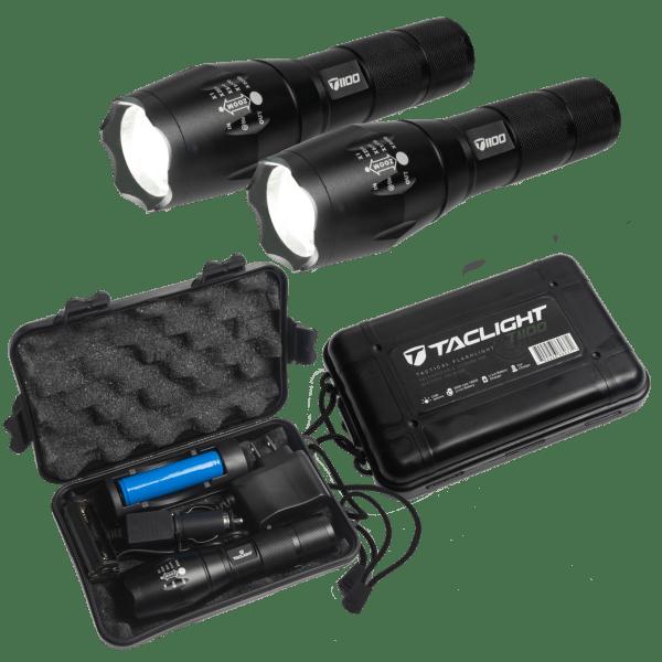 TacLight 1100 Lumen Flashlight Kits (Set of 2)   Reg Price: $30   Today's Price: $15 (50% off!)    via meh.