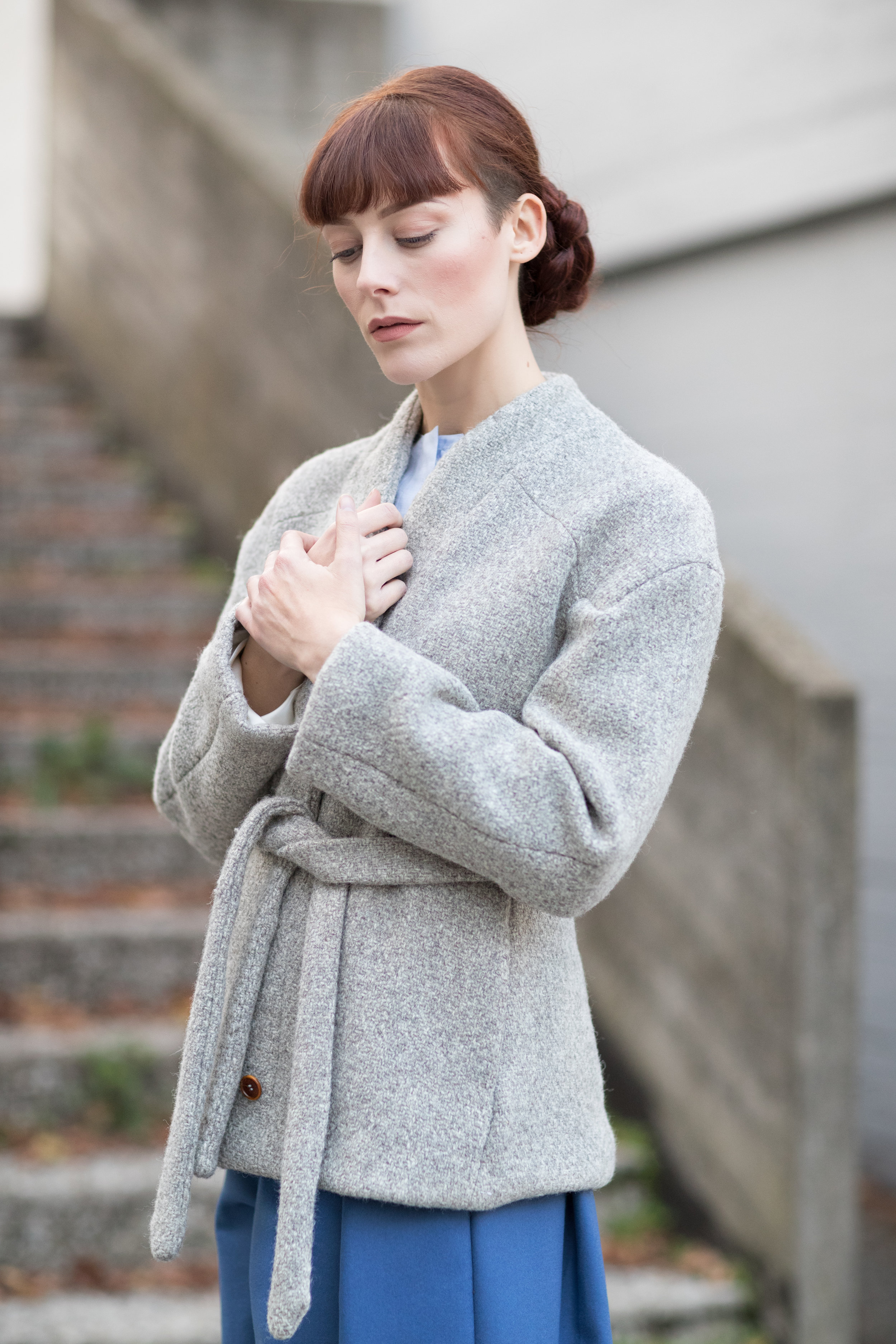 Short coat made with British undyed wool