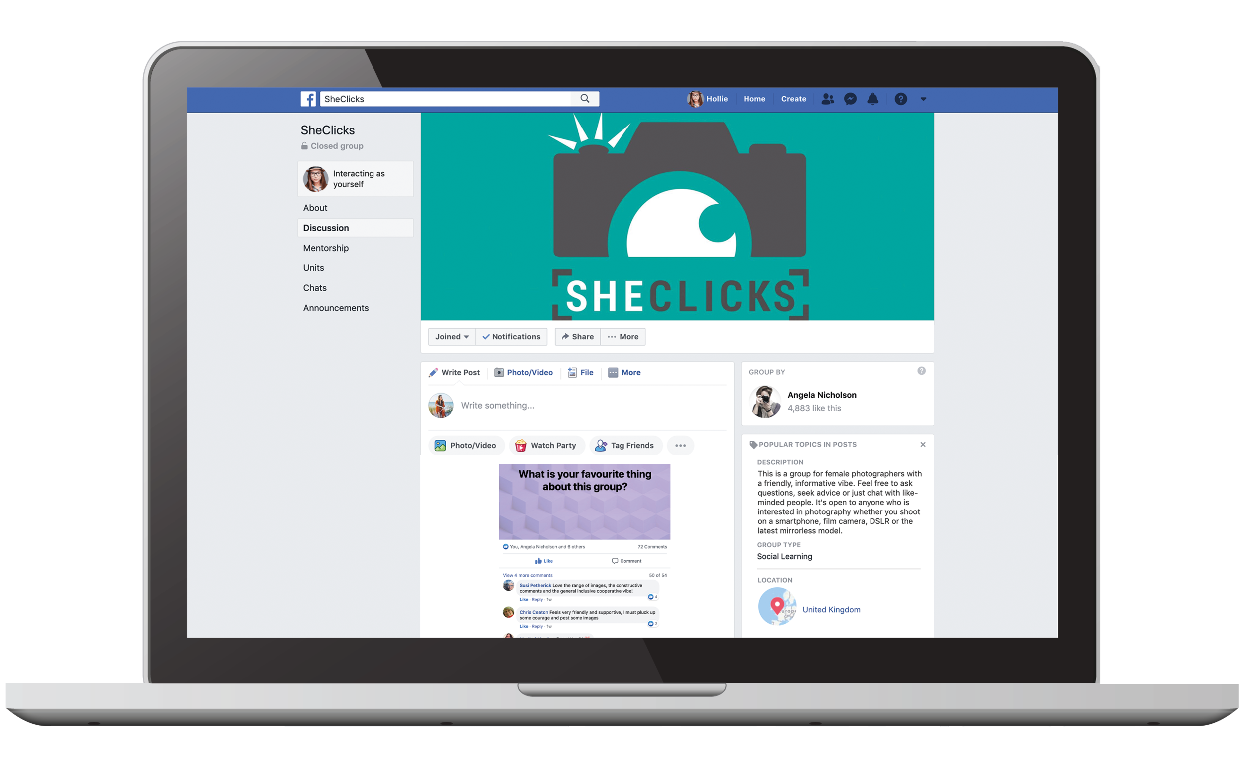 S H E C L I C K S  - SheClicks was founded in August 2018 by Angela Nicholson, beginning life as a Facebook group.