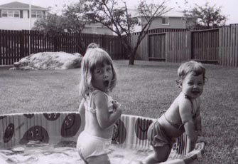 My sister and I in our favourite (smiley face) pool