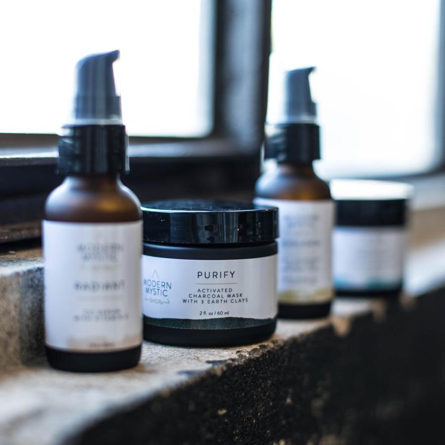 Featured Project: Modern Mystic Packaging - I have the pleasure of working with Kelley Knight of Modern Mystic on her packaging designs. This has spanned skincare, essential oils, ritual kits, and more. Her Modern Mystic Shop line has her featured products and are