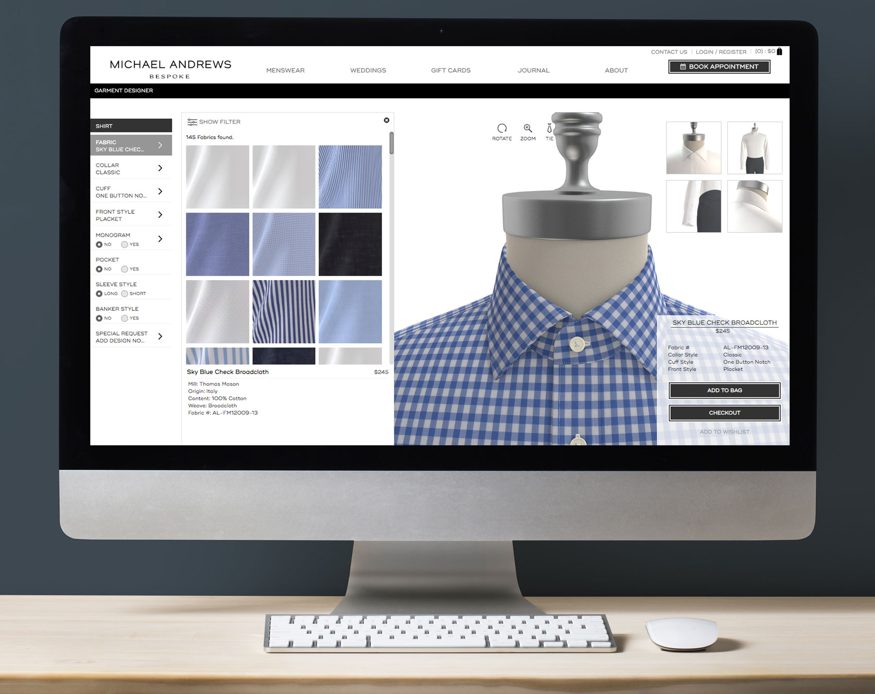 Design the user flow, experience, and visual layout of their newly implemented custom clothing configurator.