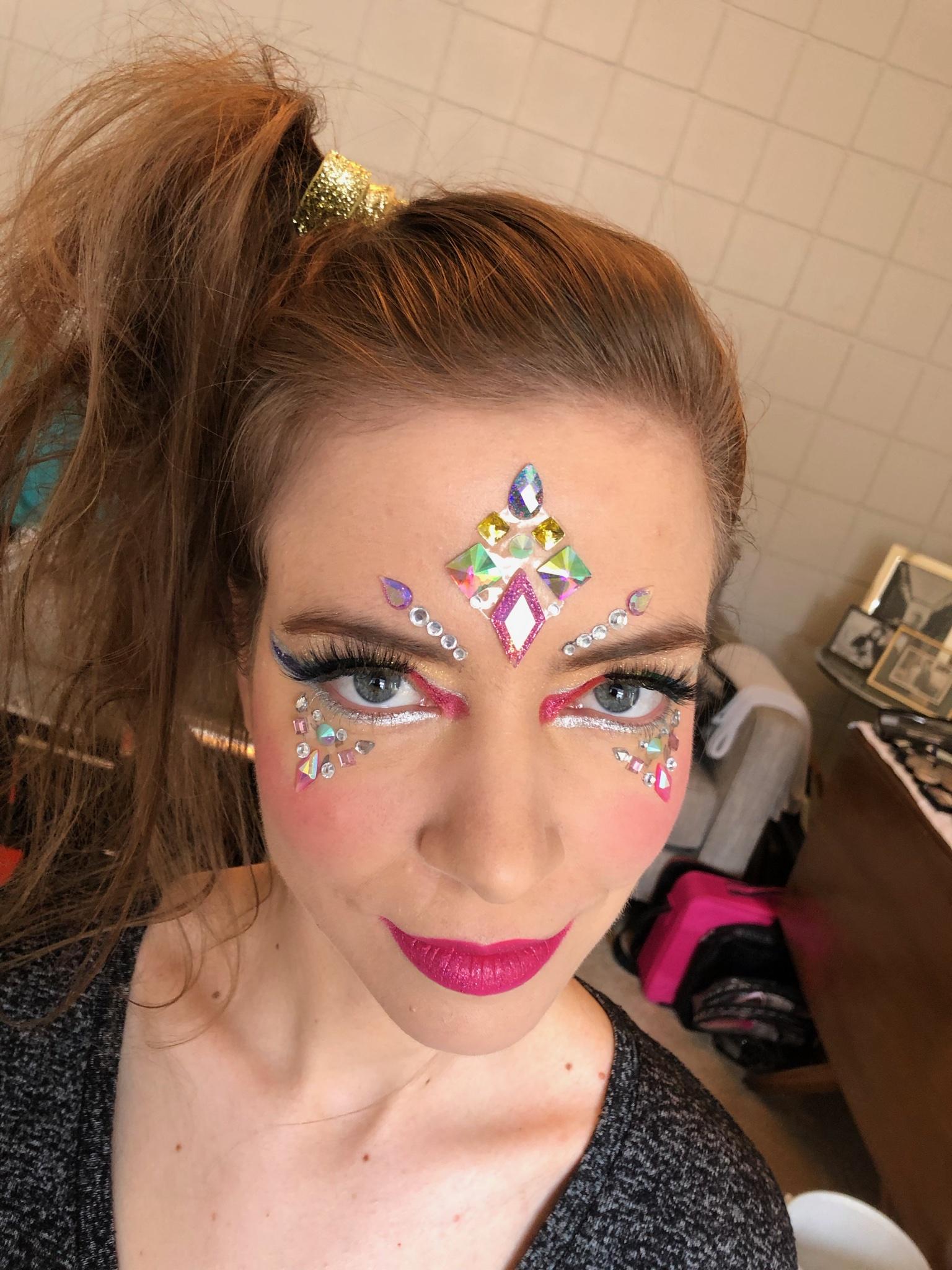Image of fun makeup design with jewels