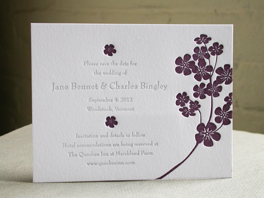 PURPLE FLOWERS save-the-date