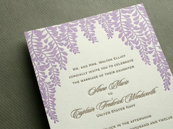 WISTERIA invitation close up