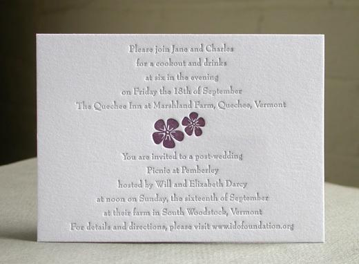 PURPLE FLOWER reception card