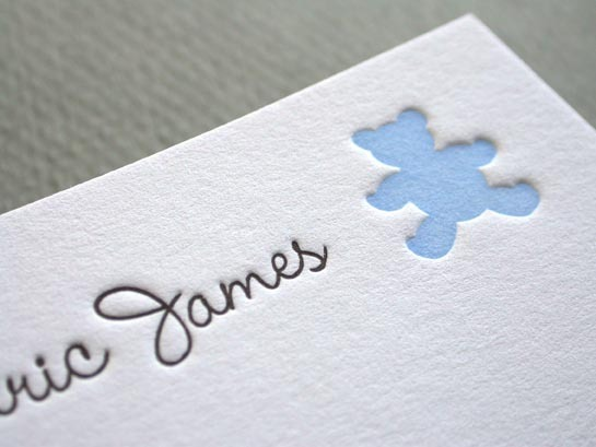 TEDDY BEAR BLUE notecard close up