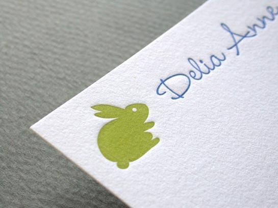 BABY BUNNY GREEN notecard
