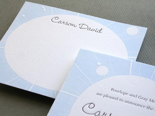 BABY CONSTELLATION BLUE notecard and announcement