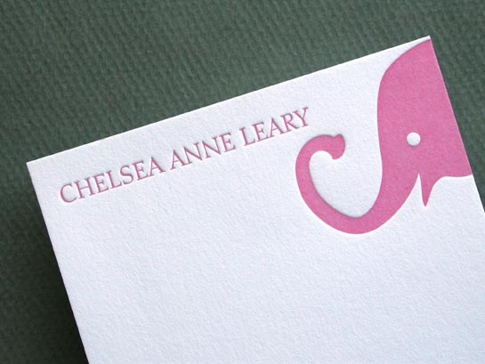 BABY ELEPHANT PINK notecards close up