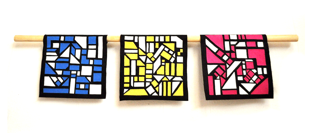 """""""Untitled"""", 2019. felt, 8.75 x 8.75 in squares, 40 in bamboo stick"""