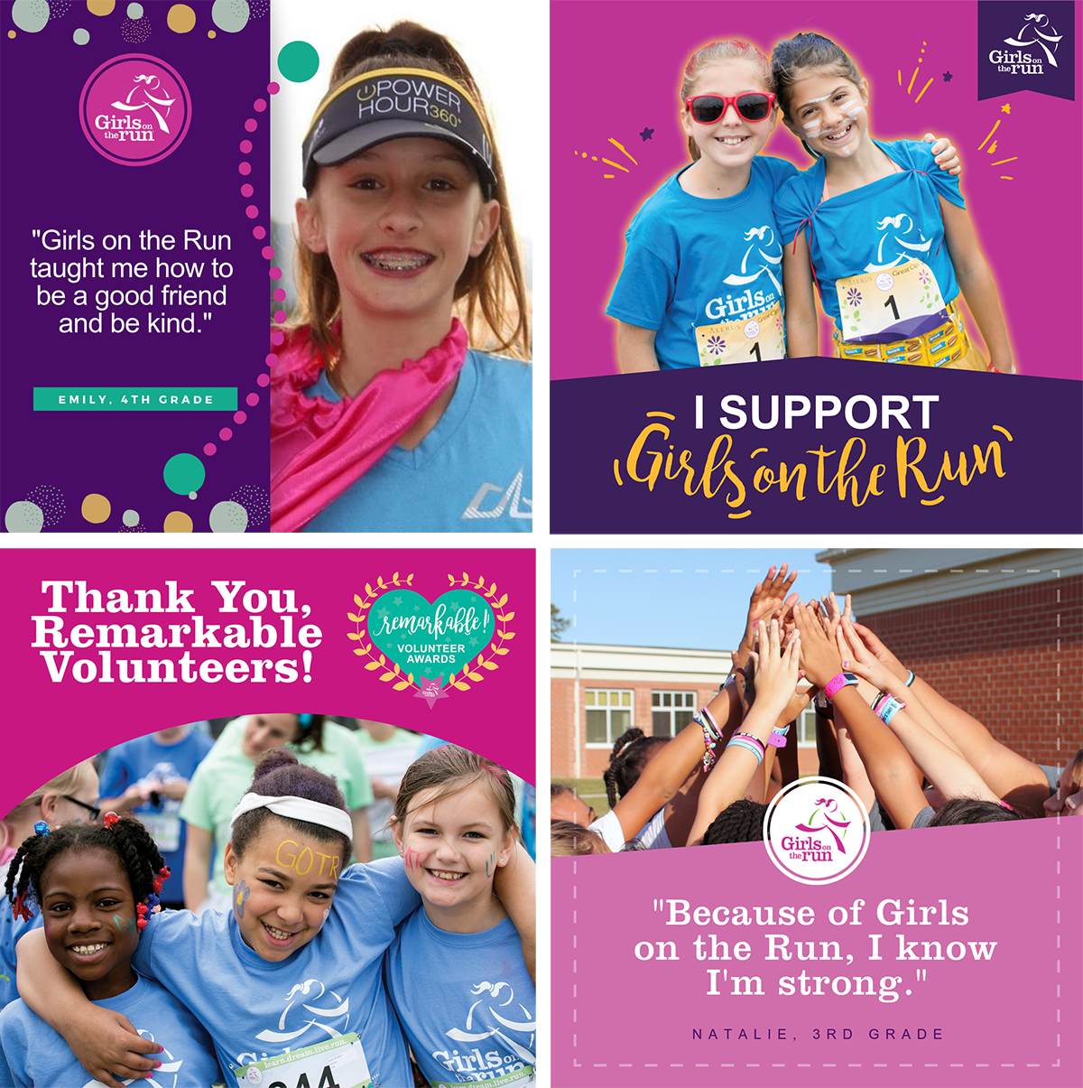 Social Media Marketing - One of the essential marketing materials you can have for a non-profit organization is social media.These are a few select Facebook and Instagram marketing posts I designed using the Girls on the Run branding guideline. My job was to use these pre-existing design elements to create appealing and eye-catching posts to attract new members.