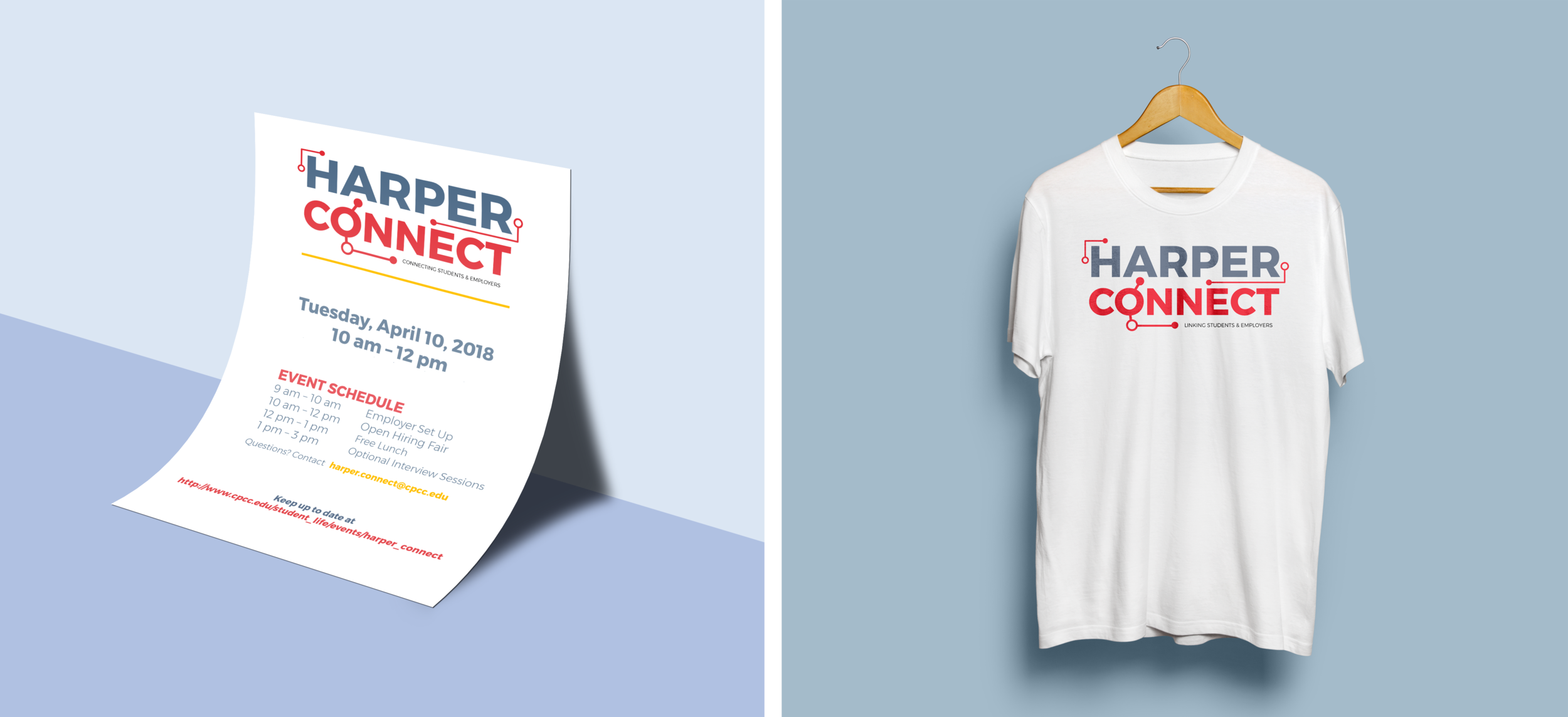 Flyer & t-shirt design using the Harper Connect logo and colors.
