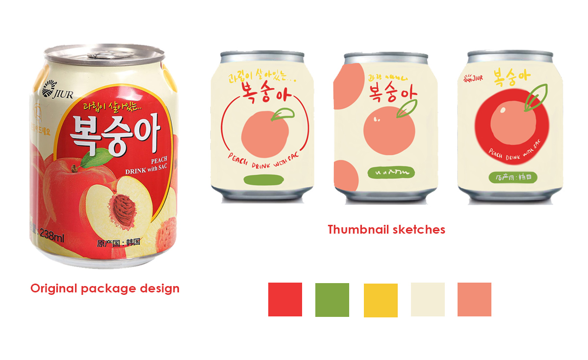 The Process - I first started off by picking the colors already used on the original packaging. I wanted to redesign the can, but not stray too far from what most people are used to. Using those colors, I drew a few thumbnails of what I envisioned the final packaging to look like. The major elements to keep were the name of the drink, the peach image, and the tagline in yellow.