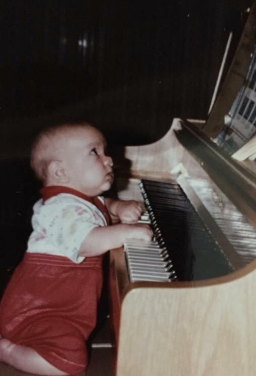 Baby John's first attempt at piano playing.