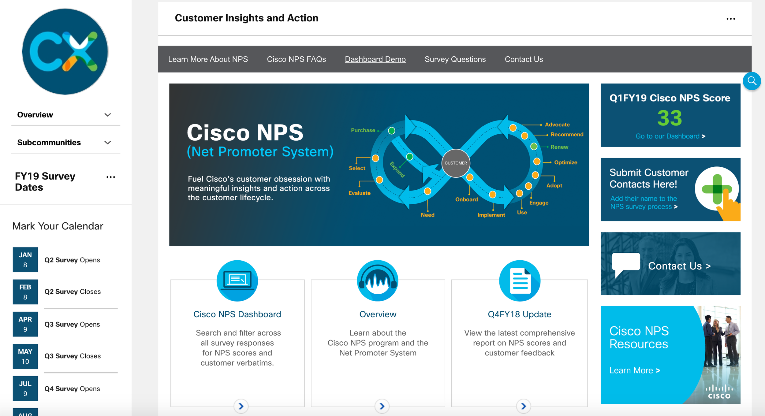 Cisco Net Promoter Score ( NPS ) Page