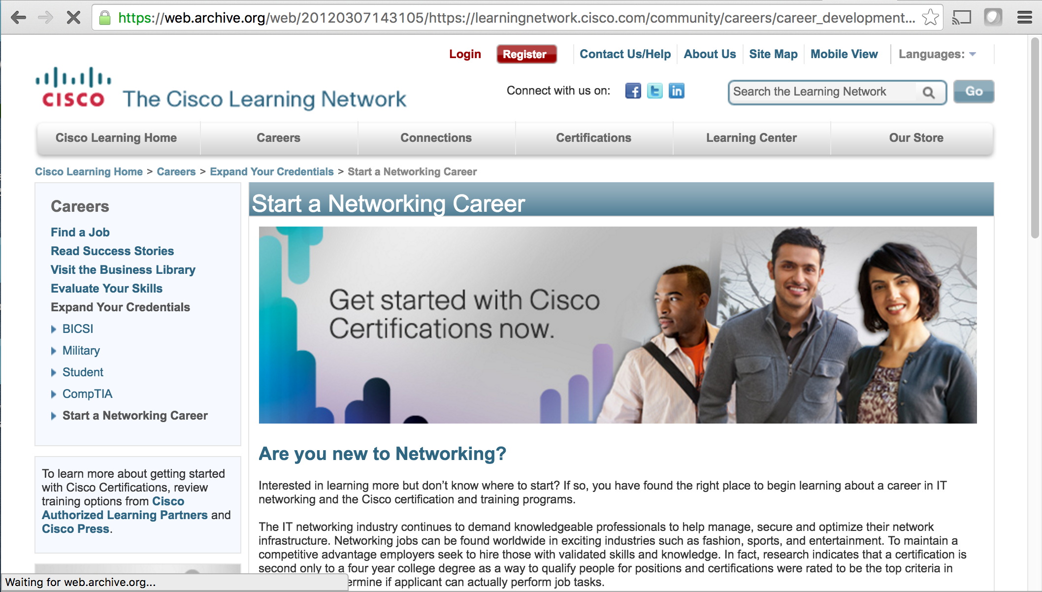 Careers Page - This was the Careers hub for those looking to explore a career in Cisco certified network administration. With numerous links to job postings and different career focus, this page received many hits per day. I designed and built the layout and graphics for the page.