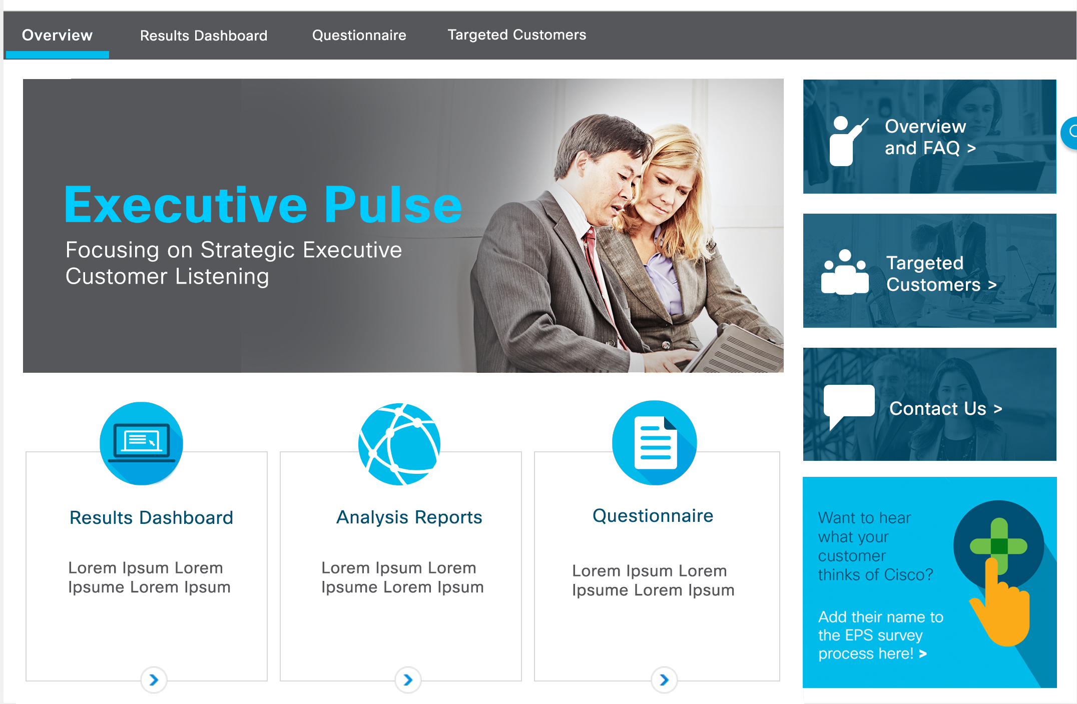Executive Customer Listening Page