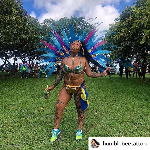 The beautiful @humblebeetattoo in our Road Ready Glitter Tights for Grand Kadooment ✨😍😍 . . . . . . . . . #carnival #carnivalist #carnival2019 #trinidadcarnival #cropover #miamicarnival #atlantacarnival #hollywoodcarnival #caribbeangirls #carnivalcostume #explorepage #islandmix #followsoca #westindimade #mondaywear #badgyal #hotgirlsummer #socamusic #caribbeangirlsrock #caribbeangirlsrunit #caribbeanfashion #shoppingonline #instagood