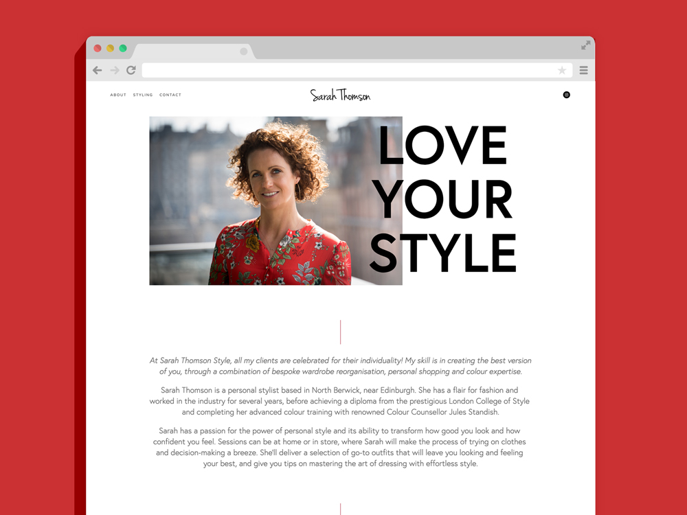 Sarah Thomson Stylist Website design build squarespace minimal