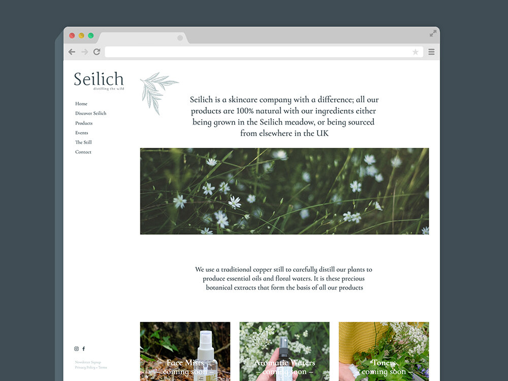 Seilich Botanicals website ecommerce Squarespace design and build
