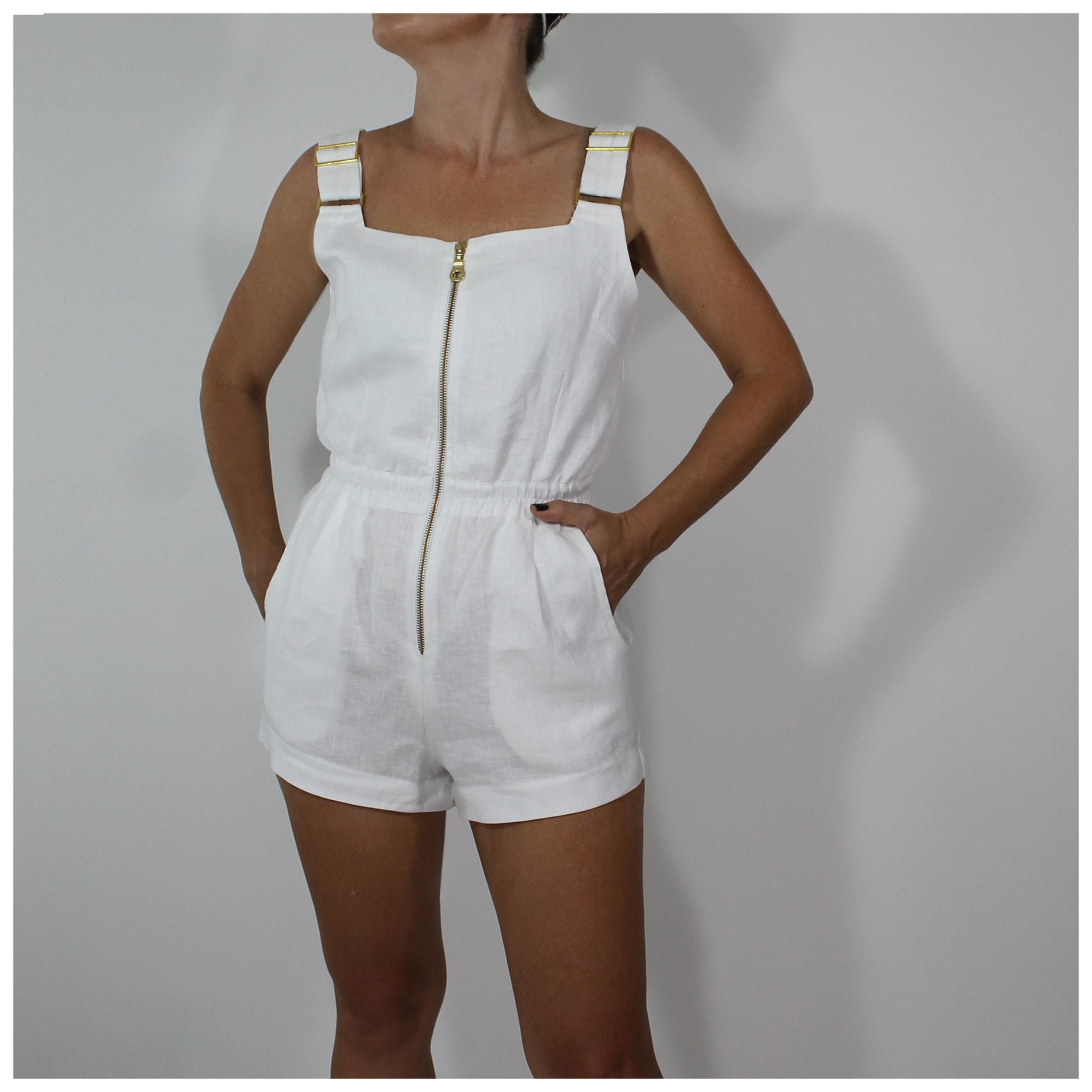 white linen playsuit