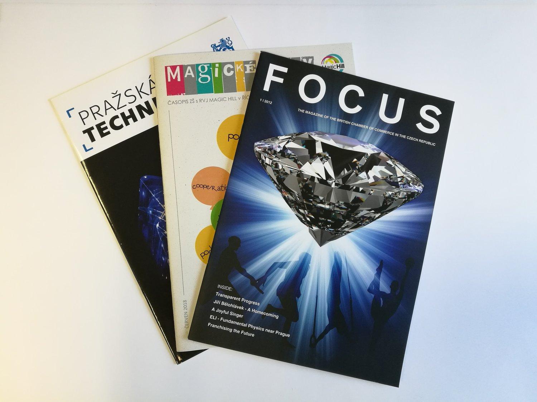 TISK firemních ČASOPISŮ - Časopisy tiskneme nejčastěji na lesklý, nebo matný křídový papír, občas také na ofsetový nebo recyklovaný papír.