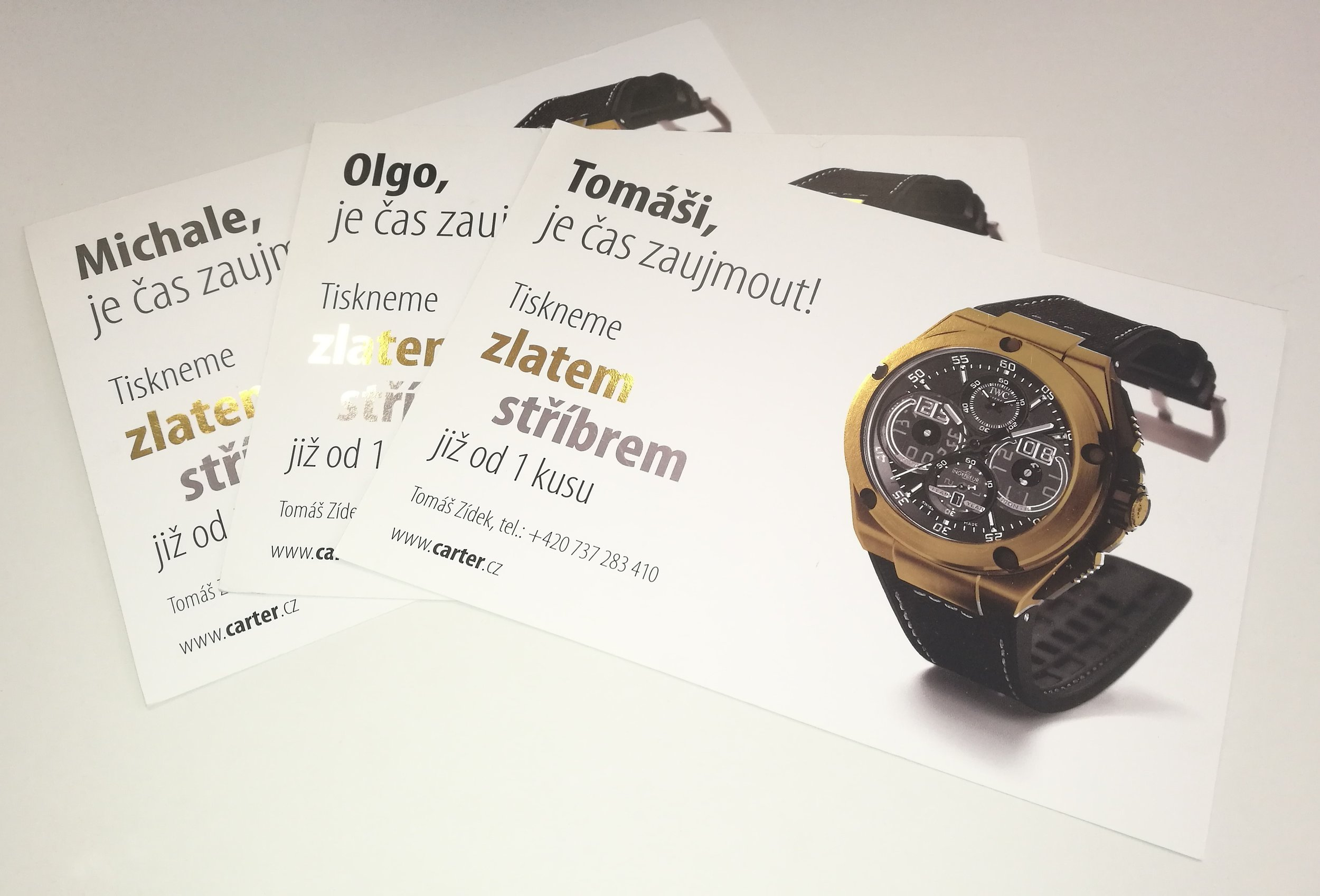 PERSONALIZOVANÉ LETÁKY - Tisk personalizovaných letáků se stříbrnou a zlatou ražbou.