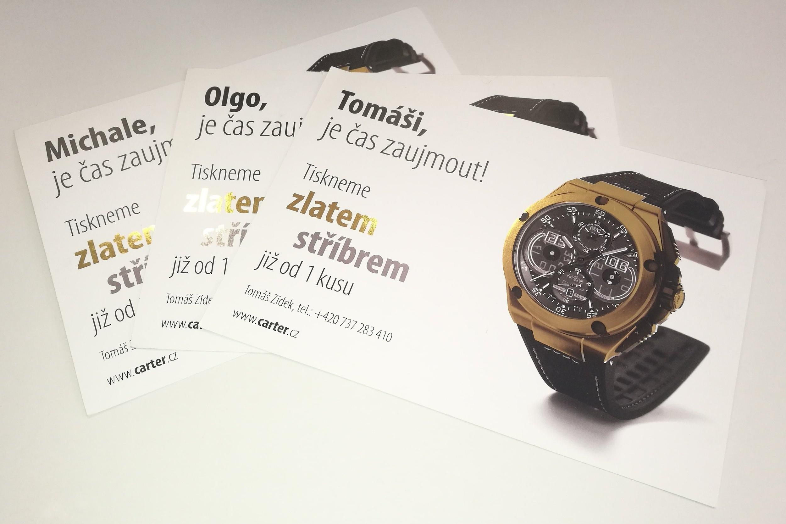 Personalizované letáky - Reklamní letáky se zlatou ražbou. Každý leták začínal personalizovaným oslovením.