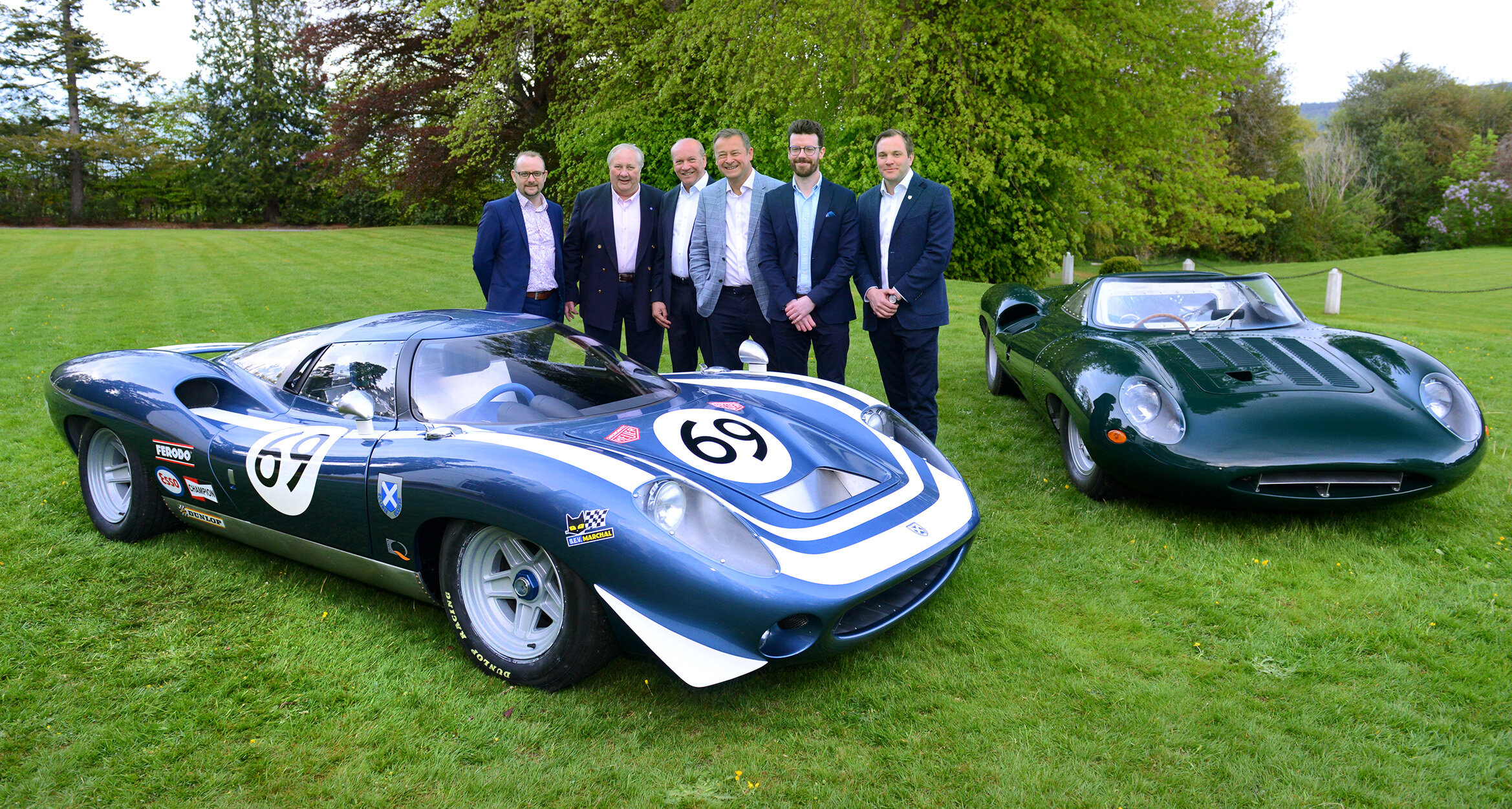 Private launch in Scotland. Left to Right: James Philpotts, Hugh McCaig, Neville Swales, Howard Guy, Patrick McCallion and Alasdair McCaig with the Ecurie Ecosse LM69 and Jaguar XJ13. Image courtesy of Fergusson Photography