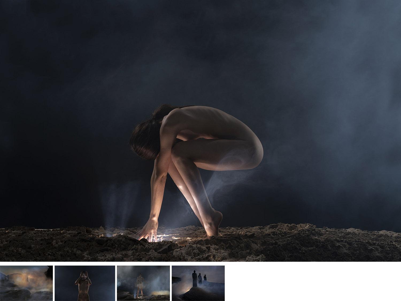 """Darker Matter - 写真展展示作品""""Darker Matter=より深い闇""""は自分のスピリチュアルな側面に関連する闇について表現した作品。生まれる前に属していた場所であり、いつか帰っていく場所でもある暗闇。心に常に潜んでいて、夜中になると呼びかけてくる暗闇。"""
