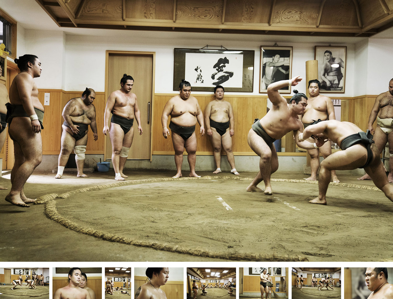 """Sumo - フォト・ドキュメンタリー制作物:スチール強く興味をそそられ、つてを頼りに相撲部屋で朝稽古を撮影させてもらうことで完成したシリーズ写真""""Sumo=相撲""""。とてつもなく大きく肥った男たちが、どちらかが倒れるか土俵の外に出てしまうまで、突き合い、はたき合い、引きずり合い、押し合っている様に世界中の多くの人々が魅力を感じるのだろう。真剣に稽古に取り組む彼らの姿を間近で見たことで、力士たちへの尊敬の念はますます大きくなった。"""